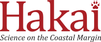 Hakai Institute Logo features the word Hakai,  in red, with a paw print in place of the dot in the i
